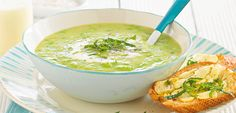 Minted pea potato and bacon soup recipe, NZ Womans Weekly – This minty green soup is sure to brighten your day and leave you feeling satisfied - Eat Well (formerly Bite) Cheese Stuffed Peppers, Bacon Soup, Green Soup, Cracked Pepper, Fresh Mint, Feta, Potatoes, Lunch, Dinner