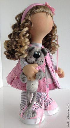 Купить Кисонька - розовый, кукла ручной работы, кукла в подарок, кукла интерьерная, кукла текстильная ♡
