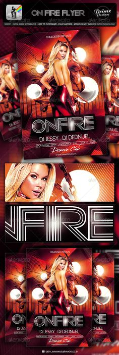 Infernal Disco Flyer Template  Orange Party Flyer Template And