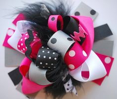 boutique FUNKY fun CHRISTMAS in PARIS hair bow clip by andjane, $12.99