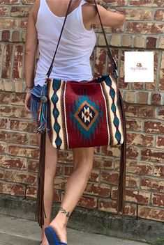 Red & Turquoise Saddle Blanket Bag by MissyBUpinStitches on Etsy Hippie Bags, Boho Bags, Pendleton Bag, Fringe Crossbody Bag, Saddle Blanket, Red Turquoise, Diy Purse, Cowgirl Style, Cute Bags