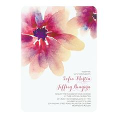 floral watercolor wedding invitations with hand painted flowers - blossoms for elegant romantic and casual feel wedding