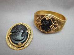 VTG Bracelet Brooch Set Antique Mourning High Relief Glass Onyx Cameo Flowers SOLD!