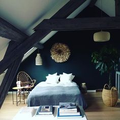 Shooting day at Alice Bizien house near Paris . An interior designer who has a highly distinctive style . #littlegreenpaint #farrowandball #alinea #lemondesauvage #interiorstyling #décoration #shootingdeco #decoration #interiorstyle #reportage #combles #rotin #vintage #bedroomstyle @alicebizien