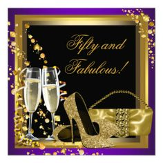Purple and Gold 50th Birthday Party Personalized Invitation