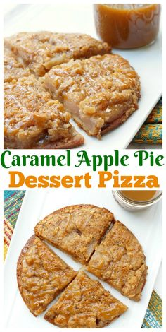This Caramel Apple Pie Pizza is the ultimate fall dessert - Delicious dutch apple pie on top of pizza crust, all drizzled with sweet caramel topping!