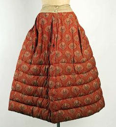 13-12-11  Taking the quilted petticoat a step further, this one from the late 1860s is stuffed with goose down.