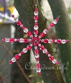 Beaded Christmas Ornaments - Star, Candy Cane and Wreath