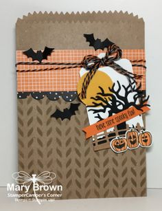 stampercamper.com - The Create with Connie and Mary Design Team Saturday Blog Hop theme this week was Trick or Treat Smell My Feet Treat.  I decided to go nice and easy and use a gift bag and just decorate it.  Check out my blog for all the details and to start the hop.  Set:  Spooky Fun