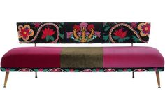 Midcentury sofa upholstered in a mix of french cotton velvets and embroidered velvet panels Velvet Furniture, Funky Furniture, Mid Century Sofa, Upholstered Sofa, Cotton Velvet, Little Houses, Daybed, Sofas, Love Seat