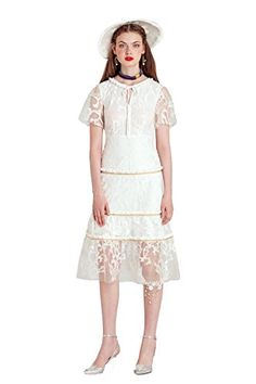 YIGELILA Women Trumpet Sleeves White Mesh Embroidery Navr... http://a.co/5mbdEtB