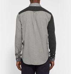 Wooster + LardiniSlim-Fit Button-Down Collar Patchwork Cotton Shirt