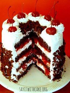Black Forest Cake | www.sayitwithcake.org | #blackforestcake #blackforest #cherry