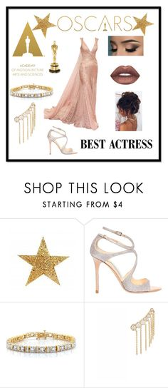 """The Oscars style ❤"" by emiliawood1 ❤ liked on Polyvore featuring Jimmy Choo, Sophie Bille Brahe and Lime Crime"