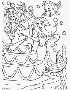 kleurplaat De kleine zeemeermin - Verjaardagstaart