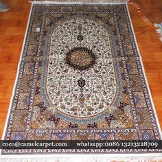 Chinese silk hand knotted carpet on sale Size:4x6ft-122x183cm Quality: 400KPSI, double knots whatsapp:008613213228709 coco@camelcarpet.com