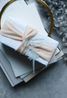 Pink and grey gift wrap.