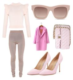 """""""Pretty in Pink"""" by filthyriot on Polyvore featuring Manolo Blahnik, Balmain, STELLA McCARTNEY and Chanel"""