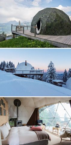 10 Glamping Destinations For People Who Want To Go Camping But Need The Luxuries Of A Hotel //  Whitepod Eco-luxury Hotel – Les Giettes, Switzerland //  Located at the foot of the Dents-du-Midi mountain range in Switzerland, these geodesic-dome shaped pods are available year round and offer incredible views of the alps right from the king size bed.