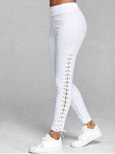 Lace Up Elastic Waist Leggings
