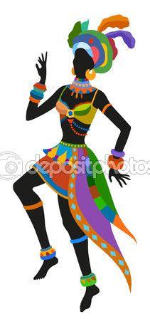 Mujer africana bailando — Vector de stock #121770614 Más