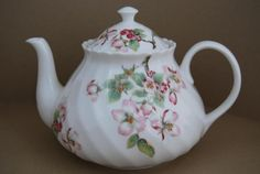"""Wedgwood Apple Blossom Large Tea Pot, 6¼"""" w x 4-3/4"""" tall. GBP 54.99 (approx $79.03 US) at rugglesdolphins on ebay, 2/2/16"""