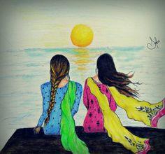 Two simple Pakistani girls drawing
