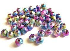 100 perles stardust métallisées violet avec plusieurs couleurs acrylique Ø 6 mm : Perles Synthétiques par une-histoire-de-mode