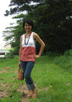 Ladies top fashioned from a boy's gingham shirt and a ladies tank top.