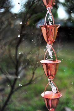 Shiny copper rain chain