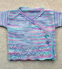 Free Knitting Pattern for Little Princess Baby Kimono - This crossover wrap cardigan features anOriel Lace Pattern at the hem. Size 0-6 months. Designed by Jan Henley.Pictured projectby Scullybunbun