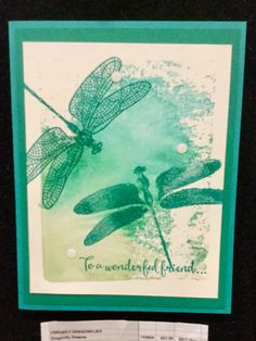 Dragonfly Dreams.  Background stamped on block.