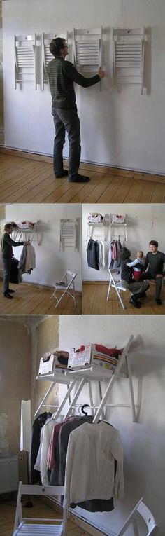 Instant closet space with mounted folding chairs    white hook through the center hole in the middle of the backrest. Allows it to pivot back when chair is open and in clothes-hanging mode
