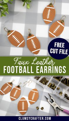 Leather Football Earrings with a Free Cut File - Clumsy Crafter - Soccer Photos Bar Stud Earrings, Art Deco Earrings, Diy Earrings, Gold Earrings, Teardrop Earrings, Bridal Earrings, Crystal Earrings, Statement Earrings, Diy Leather Earrings