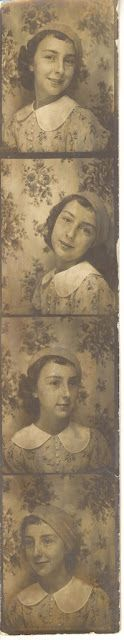 ** Vintage Photo Booth Picture **   Love how the darling girl and the background blend into one another.