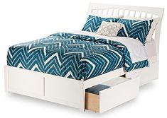 Orleans Bed with Flat Panel Foot Board and 2 Urban Bed Drawers, Full, White