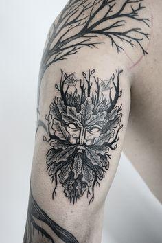 Green Man tattoo + design on Behance