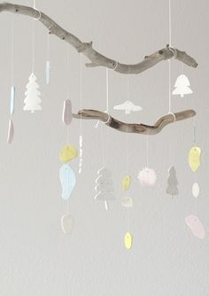mobile on branches, if I find branches Bek could make ceramic ornaments