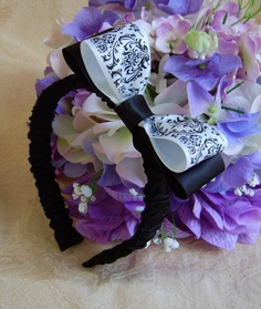Lovely headband for your flower girl with a Madison Damask bow. Coordinating basket and pillow set also listed as well as other matching accessories. #timelesstreasure
