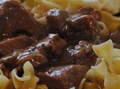 Crockpot Beef Tips & Gravy Recipe. well, i accidentally used brown gravy mix instead of onion soup but they were still very good. cooking them low and slow makes them SO TENDER!