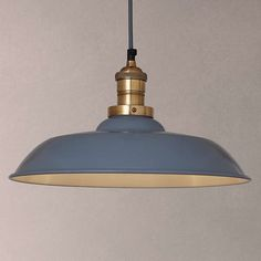 £130 BuyJohn Lewis Croft Collection Clyde Brass Trim Ceiling Pendant Light, Grey/Brass Online at johnlewis.com