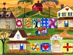 OLD TYME QULTERS VILLAGE PAINTING PRINT