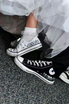 Cute converse shoes wedding bride groom matching
