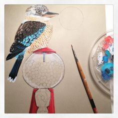 In progress one more Australian bird #kookaburra #painting #art #drawing #artwork #artdetail #bird #gumball #acrylic #workinprogress #rbresidency #redbubble #redbubblecreate #Australia #animal #animalillustration #birdillustration #melbourneart #melbourneartist by ruta13art