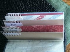 cash envelope system- make envelopes, cover with contact paper or laminate, and put into a check book cover... BRILLIANT