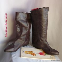 Vintage Flat PIXIE Knee Boots / Size 10 M Eu 42 UK 7 .5 JOYCE /Flat Pirate Cuff Slouch Boot / Chocolate Brown Leather / made Argentina by GoodEye on Etsy
