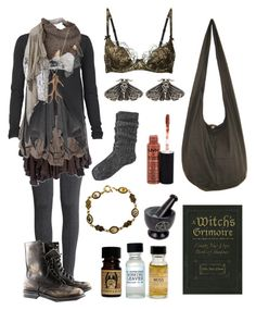 """Dark Mori - Forest Cottage Witch"" by bloodmoonsuccubus ❤ liked on Polyvore featuring Agent Provocateur, H&M, Cooper by Trelise, Sophia Kokosalaki, AllSaints, Mimco, Cutuli Cult, River Island, Portland General Store and NYX"
