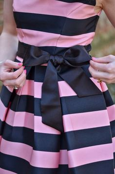 Navy and Pink Striped Dress