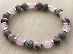 Women's Bracelet Pink Zebra stone Bracelet Rose Quartz Bracelet Boho Bracelet Yoga Bracelet Mala Beads Gemstone Bracelet Gift for Her by CrystaliciousDesigns on Etsy Rose Quartz Bracelet, Quartz Rose, Gemstone Bracelets, Silver Bracelets, Jewelry Bracelets, Silver Ring, Geek Jewelry, Diamond Bracelets, Bangles