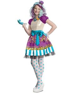 Ever After High Madeline Hatter Girls Costume at Spirit Halloween - You'll look tea-rific in this Officially Licensed Ever After High Madeline Hatter Girls Costume. Show off your too cool for school style in this striped and polka dot outfit featuring a pretty dress, tights, gloves and a necklace. Get this colorful look for $36.99